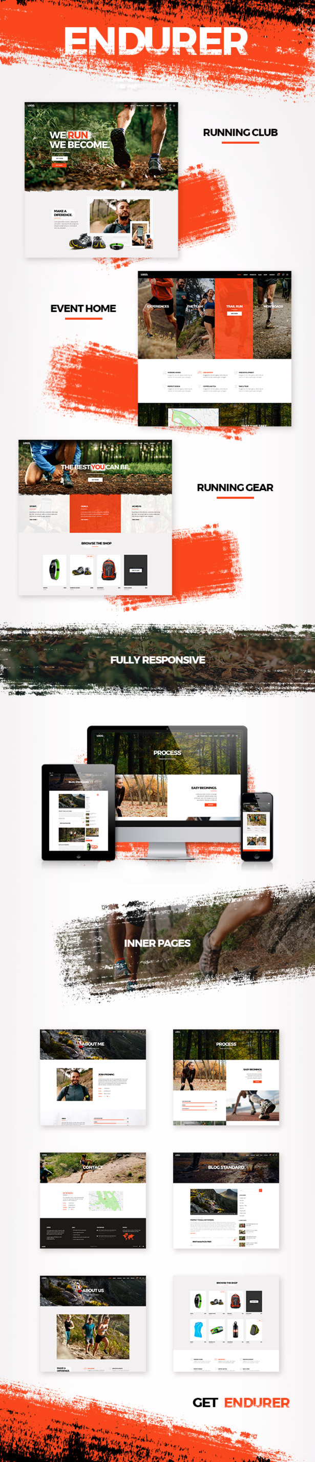 WordPress theme Endurer - A Running Club and Sports Theme (Health & Beauty)